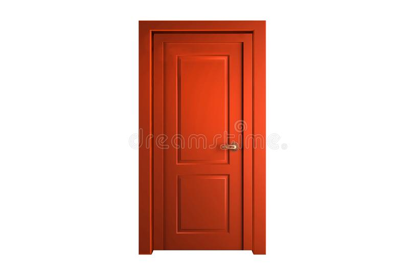 Pomarańczowy Tradycyjny Drewniany drzwi odizolowywający na białym tle obrazy royalty free