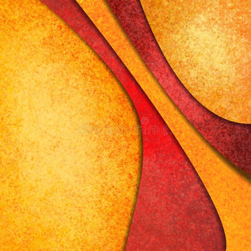 Pomarańczowy złoto i czerwieni abstrakcjonistyczny tło z materialnymi projekt warstwami ilustracji