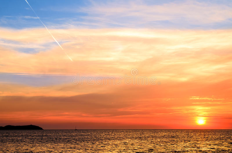 Pomarańczowy zmierzch Ibiza fotografia royalty free