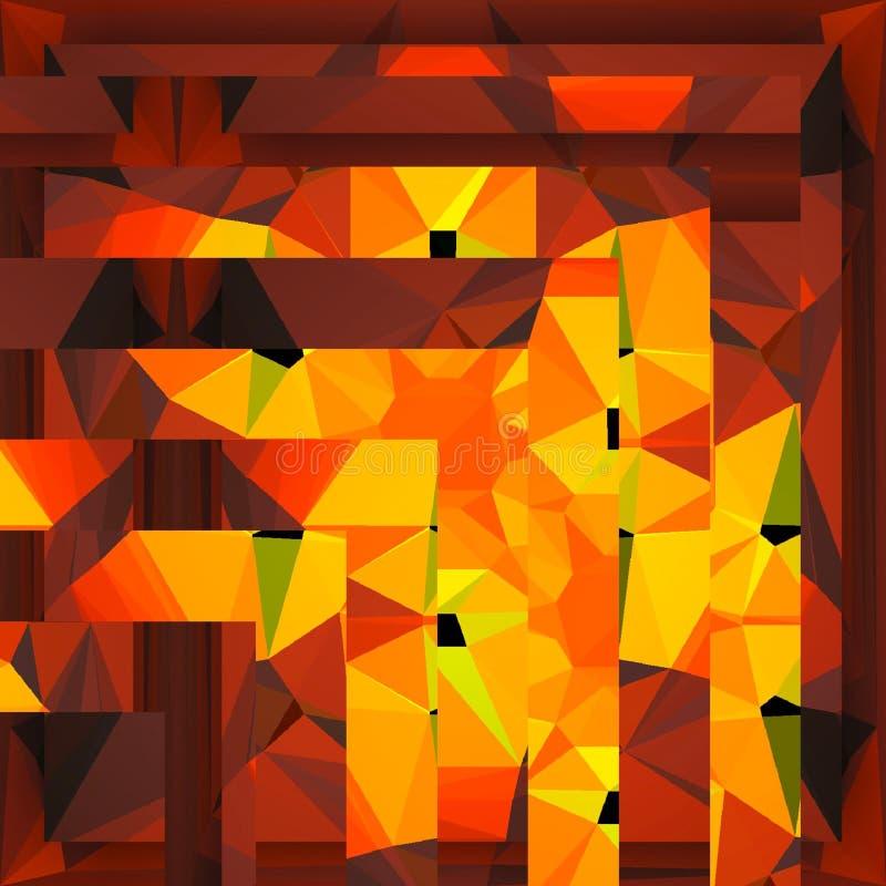 Pomarańczowych jaskrawych kwadratów retro tło z zielenią i czerwienią dla lato sztandaru lub karty ilustracja wektor