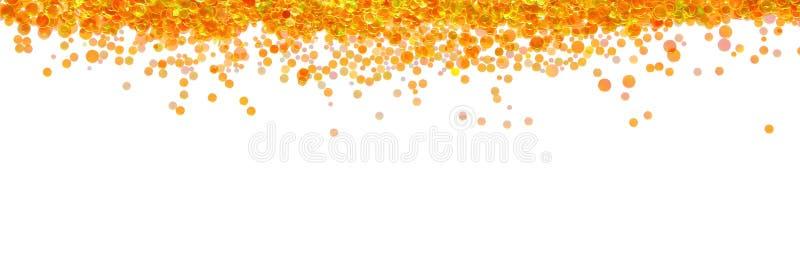 Pomarańczowych rybiej skala confetti sparkly granica z migotaniem zaświeca eff zdjęcia stock