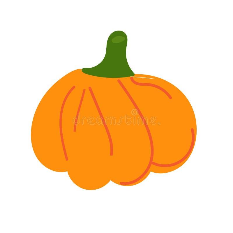Pomara?czowa dyniowa wektorowa ilustracja Jesieni Halloween bania, jarzynowa graficzna ikona lub druk odizolowywaj?cy na bia?ym t ilustracja wektor