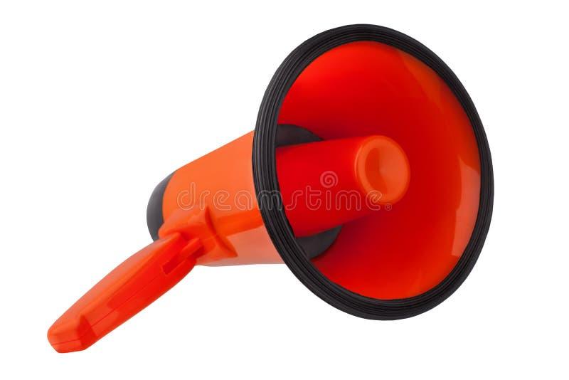 Pomara?czowy megafon na bia?y t?o odizolowywaj?cym zako?czeniu w g?r?, r?ka g?o?nika projekcie, czerwonym loudhailer lub obcoj?zy fotografia stock