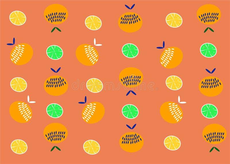 Pomara?czowy owoc wz?r Lato pomarańcz tła cytryna ilustracji