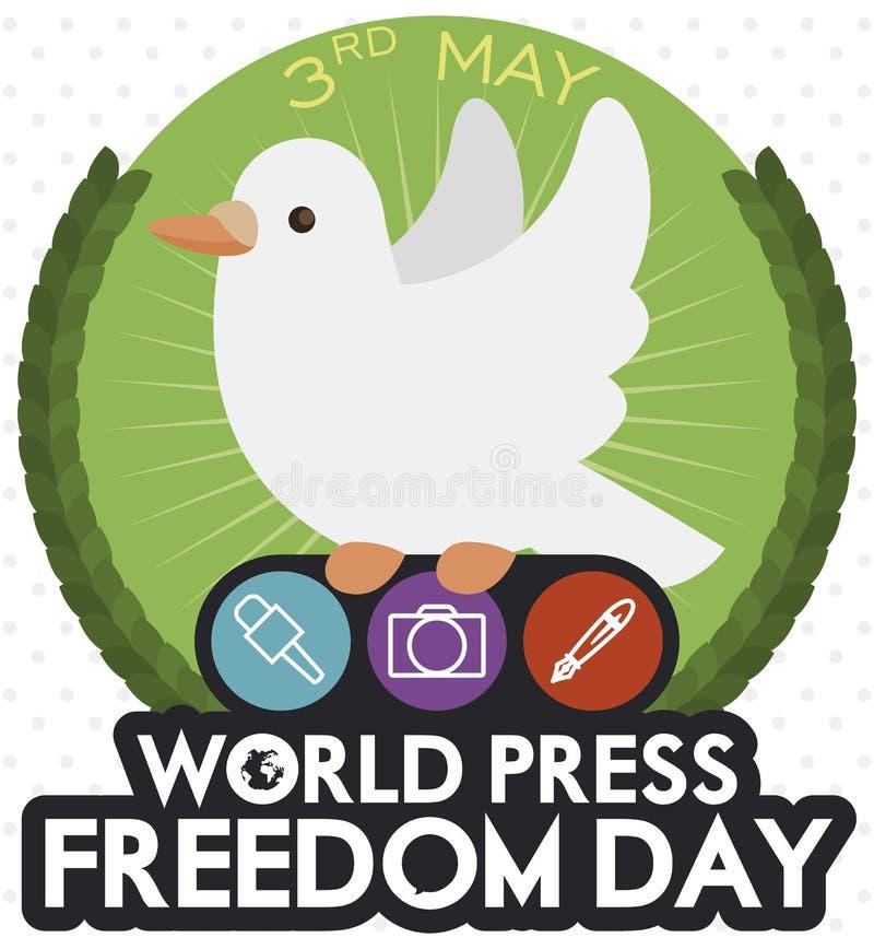 Pomba bonito que guarda ?cones comemorativos para o dia da liberdade de imprensa do mundo, ilustra??o do vetor ilustração royalty free