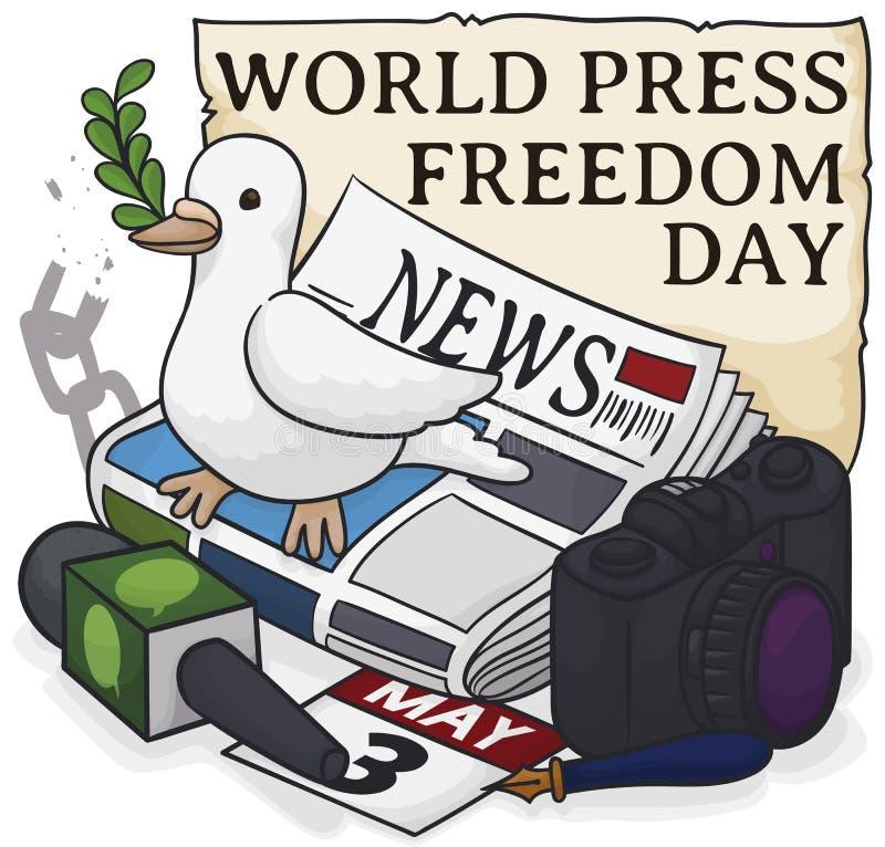 Pomba bonito sobre os elementos do journalista para o dia da liberdade de imprensa do mundo, ilustra??o do vetor ilustração royalty free
