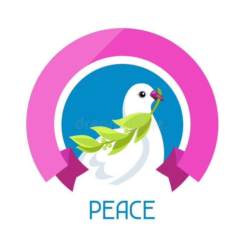 A pomba branca da paz carrega o ramo de oliveira ilustração stock