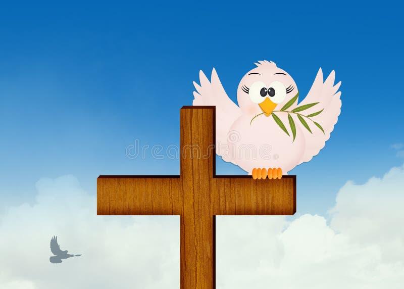 Pomba com azeitona na cruz ilustração do vetor