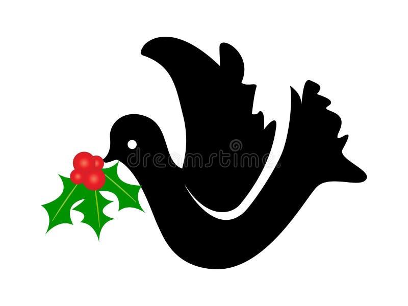 Pomba com flor do Natal ilustração royalty free