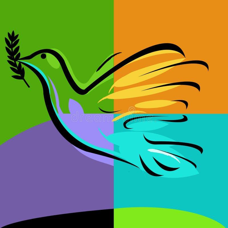 Pomba com ramo de oliveira ilustração royalty free