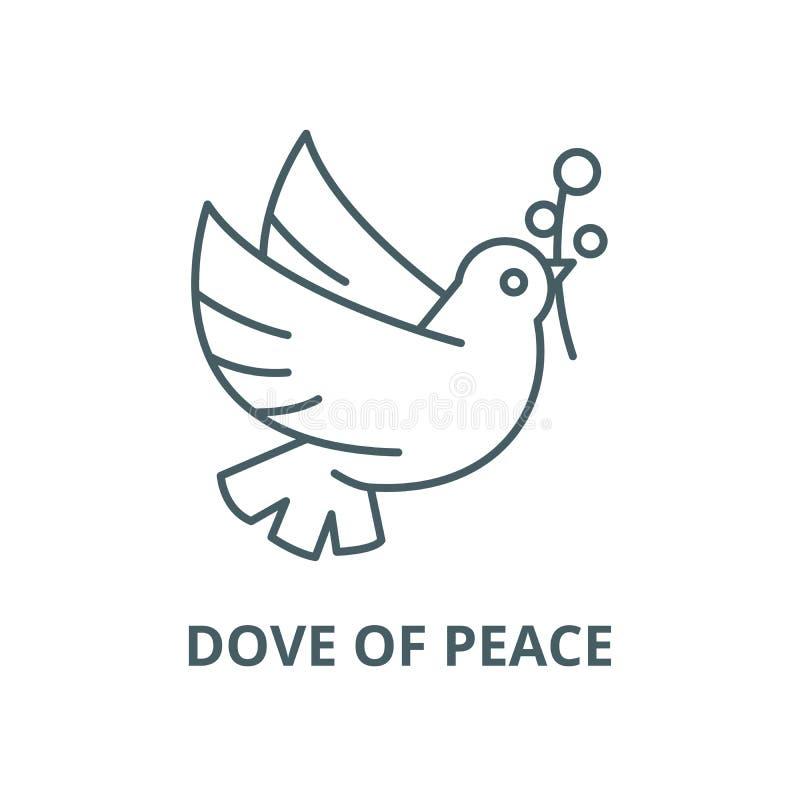 Pomba da linha ícone do vetor da paz, conceito linear, sinal do esboço, símbolo ilustração stock