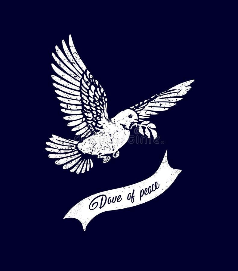 Pomba da paz Arca do ` s de Noah A descida do Espírito Santo sob a forma de uma pomba Batismo da silhueta de Jesus ChristThe de u ilustração royalty free