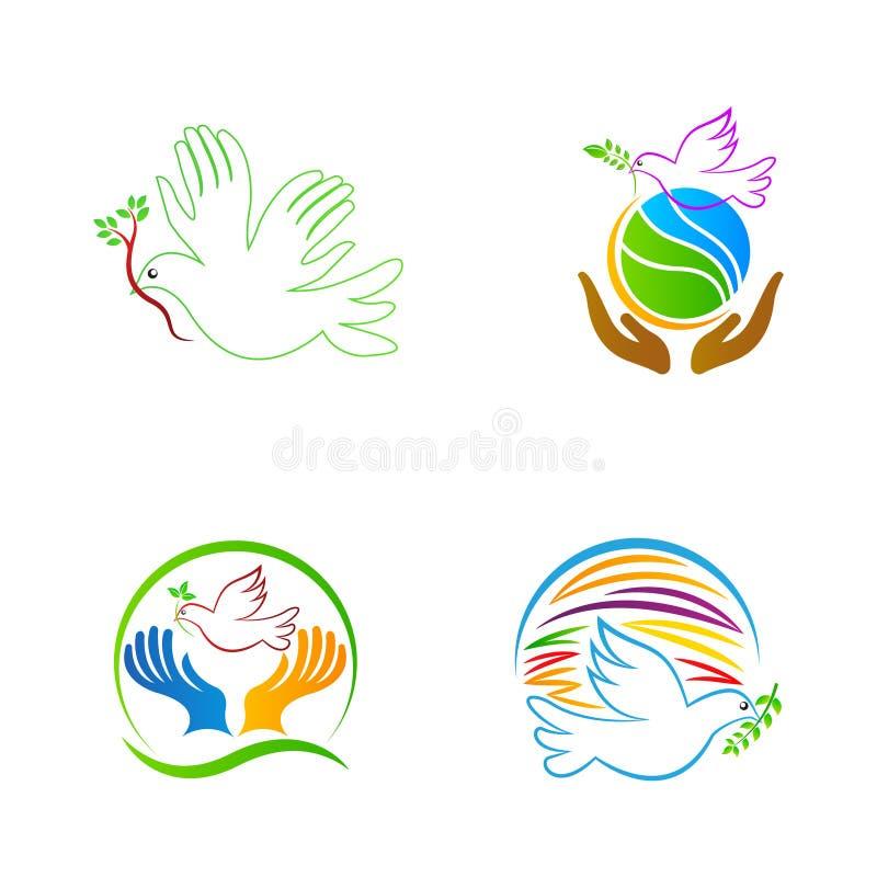 Pomba da paz de mundo ilustração do vetor