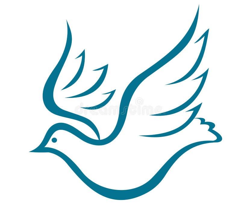 Pomba de voo da paz ilustração stock