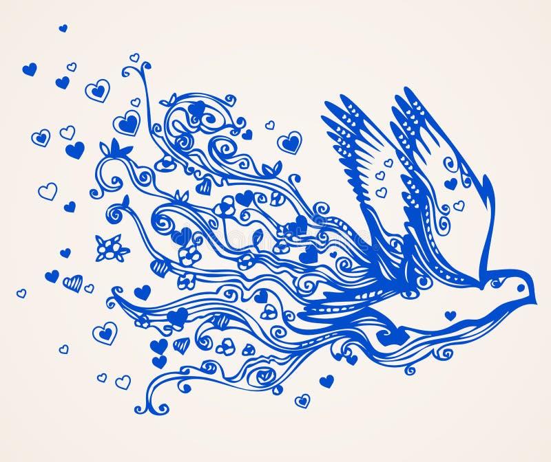 Pomba desenhada mão do vôo ilustração royalty free