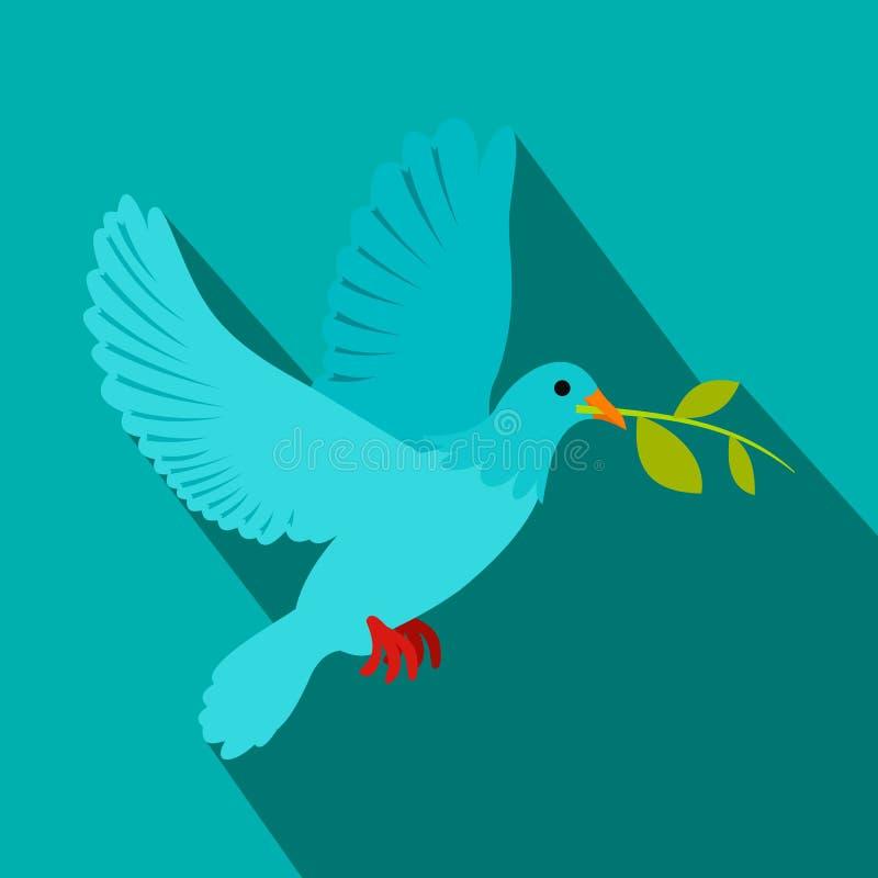 Pomba do voo da paz com um ícone verde da azeitona do galho ilustração do vetor