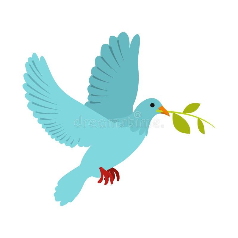 Pomba do voo da paz com um ícone verde da azeitona do galho ilustração stock