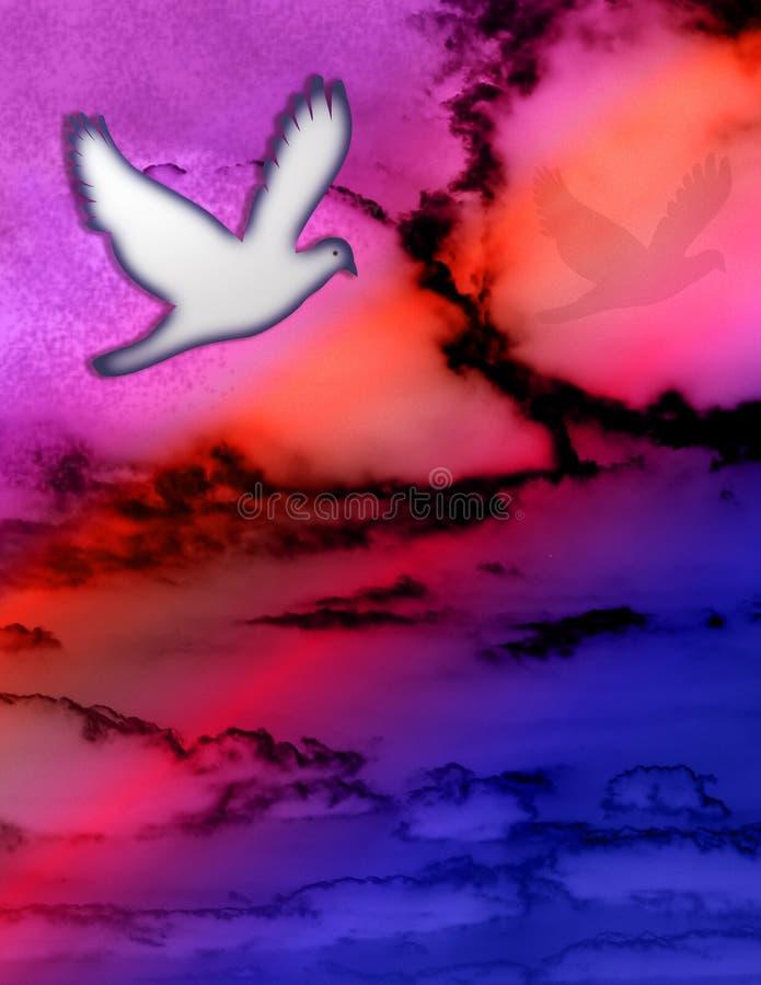 Pomba e céu ilustração stock