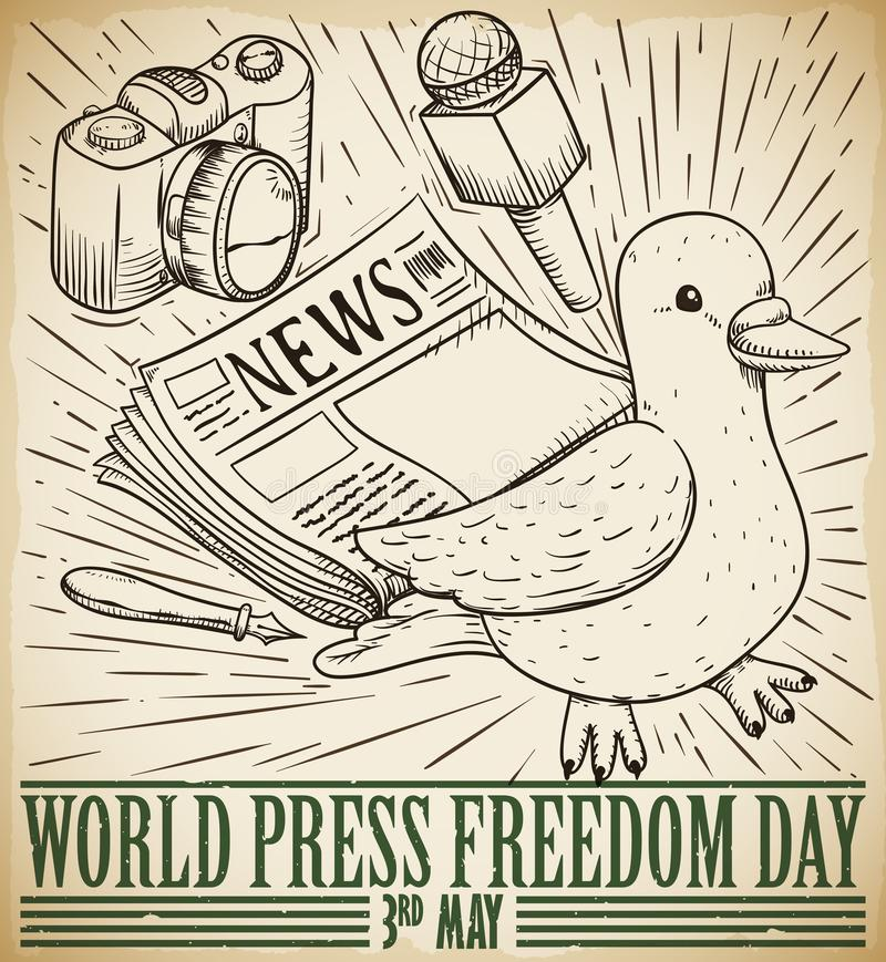 A pomba e os mass media tiram para a celebra??o do dia da liberdade de imprensa, ilustra??o do vetor ilustração do vetor