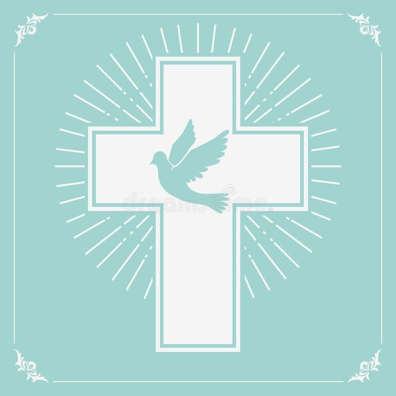 Pomba e uma cruz ilustração royalty free