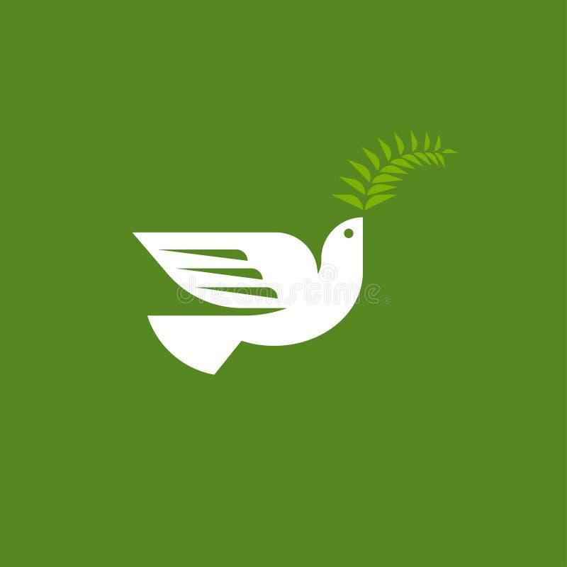 Pomba elegante Molde liso do logotipo do vetor do estilo do pombo branco ilustração stock