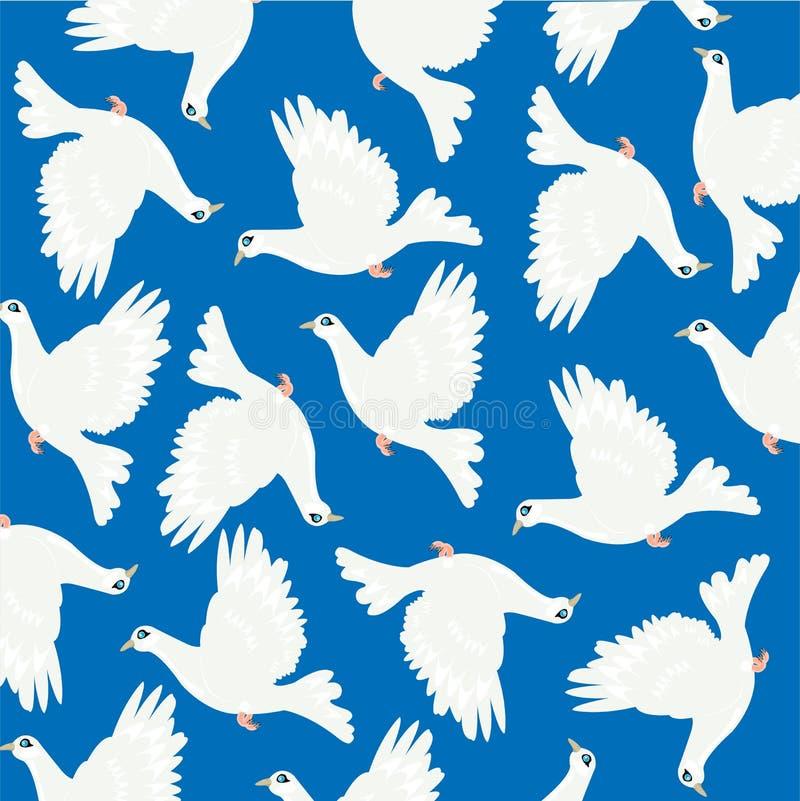 Pomba no azul da volta ilustração do vetor