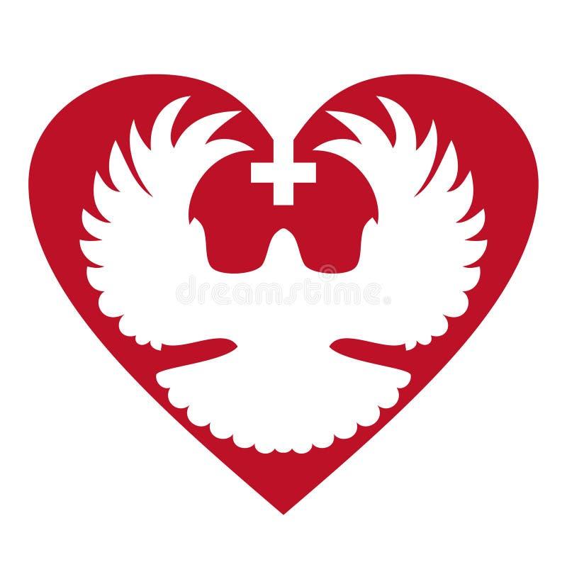Pomba no coração com cruz ilustração do vetor