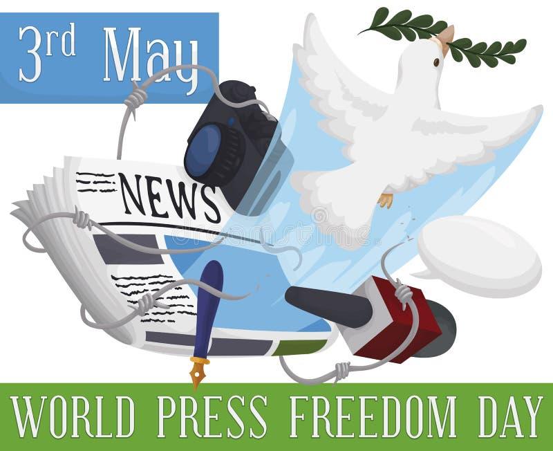 Pomba que quebra um arame farpado para comemorar o dia da liberdade de imprensa do mundo, ilustra??o do vetor ilustração royalty free