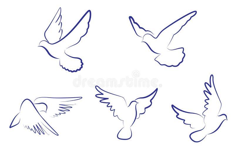 Pombas brancas ilustração do vetor