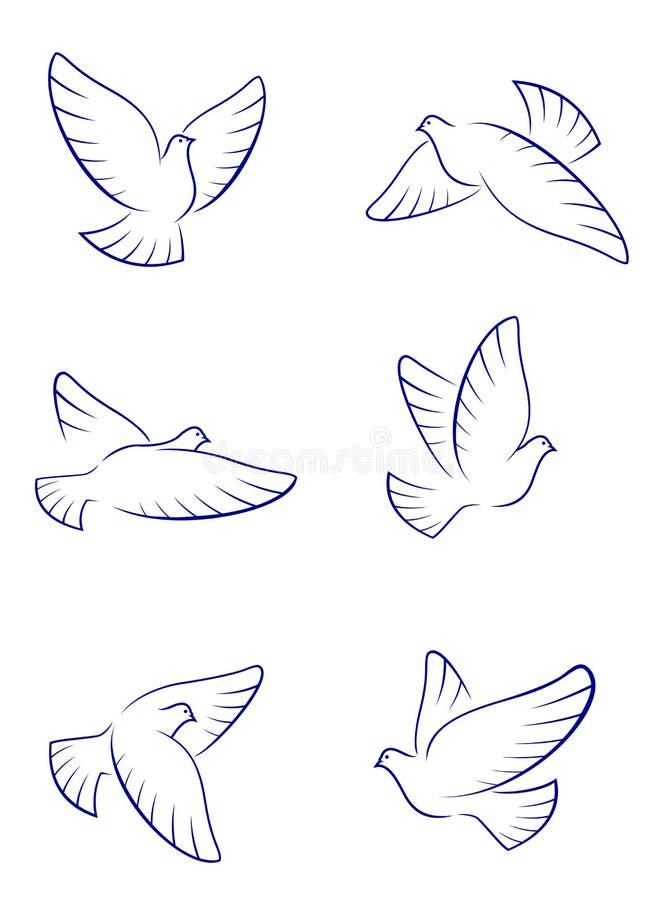 Pombas brancas ilustração stock