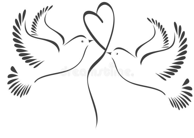 Pombas com coração ilustração royalty free