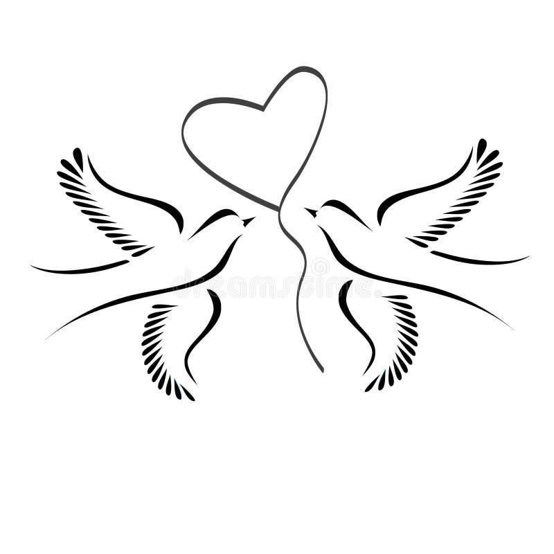 Pombas com coração ilustração stock