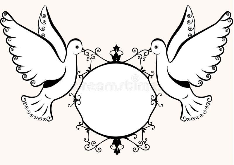 Pombas com frame ilustração royalty free