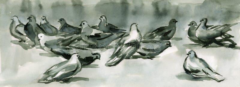 Pombas da tinta ilustração stock