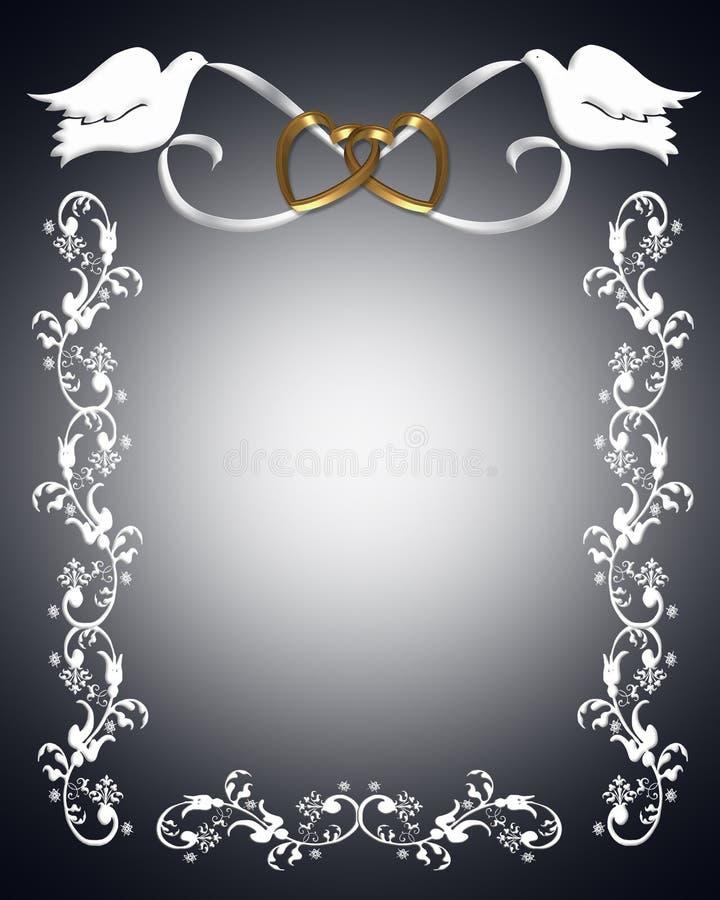Pombas do branco do convite do casamento ilustração royalty free