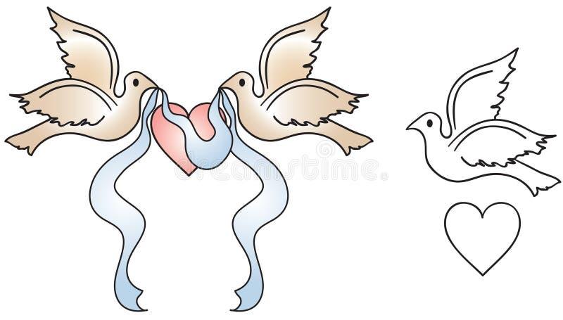 Pombas do casamento ilustração do vetor