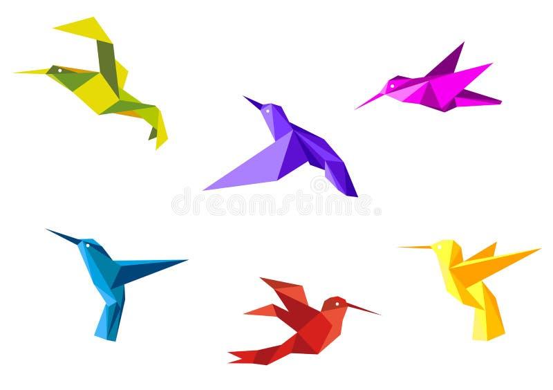 Pombas e colibris ilustração stock