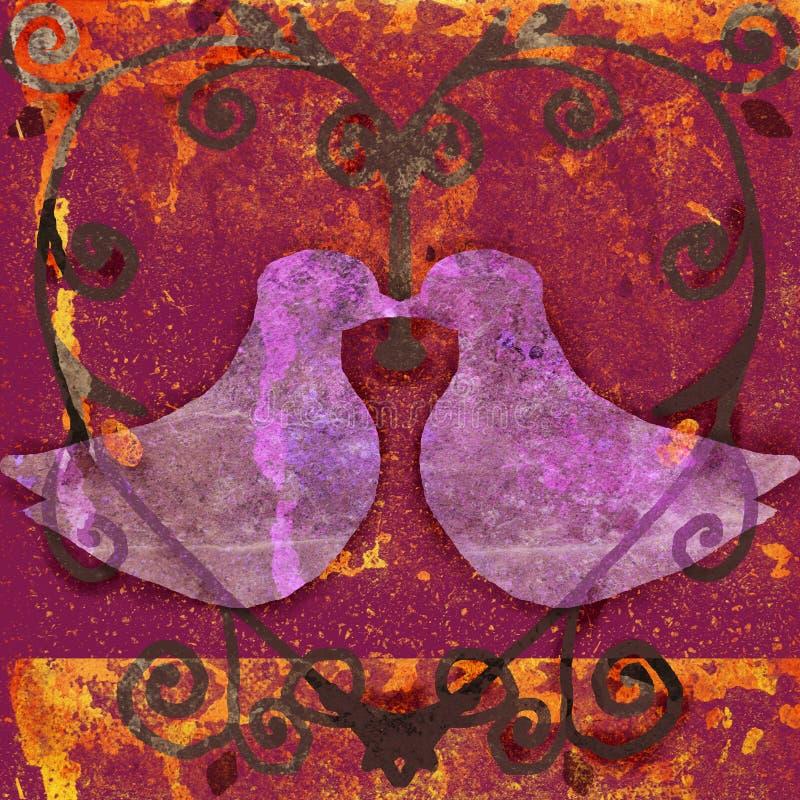Pombas no coração ilustração royalty free