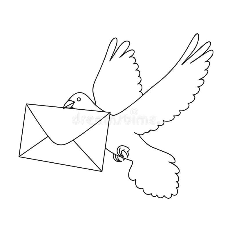 Pombo do cargo O único ícone do correio e do carteiro no esboço denomina a Web da ilustração do estoque do símbolo do vetor ilustração stock