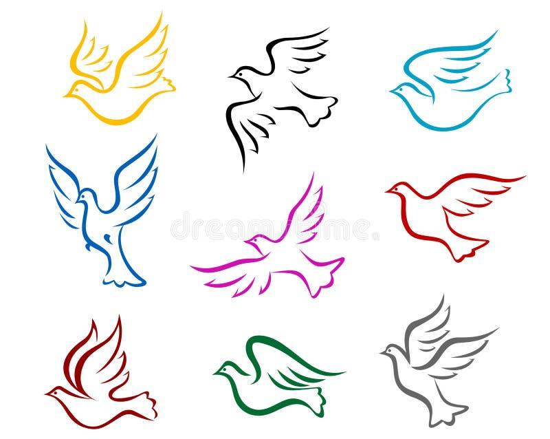 Pombos e pombas ilustração royalty free