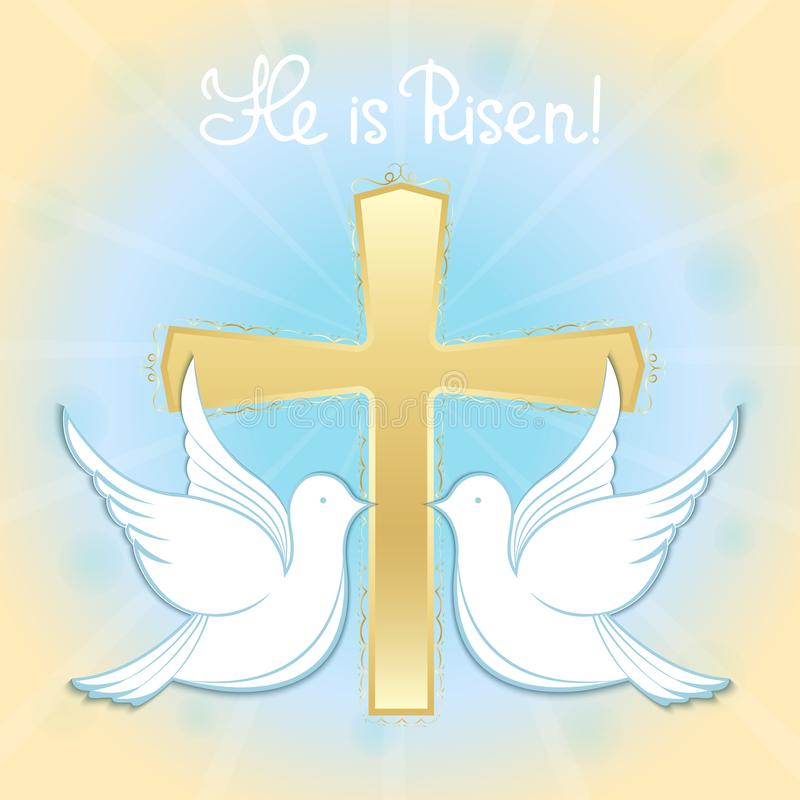 Pombos no céu na perspectiva da cruz Baptismo de Jesus Rotulação da mão é aumentado Cumprimento de Easter ilustração do vetor