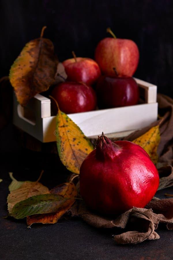 Pomegranaat en appelen royalty-vrije stock foto's