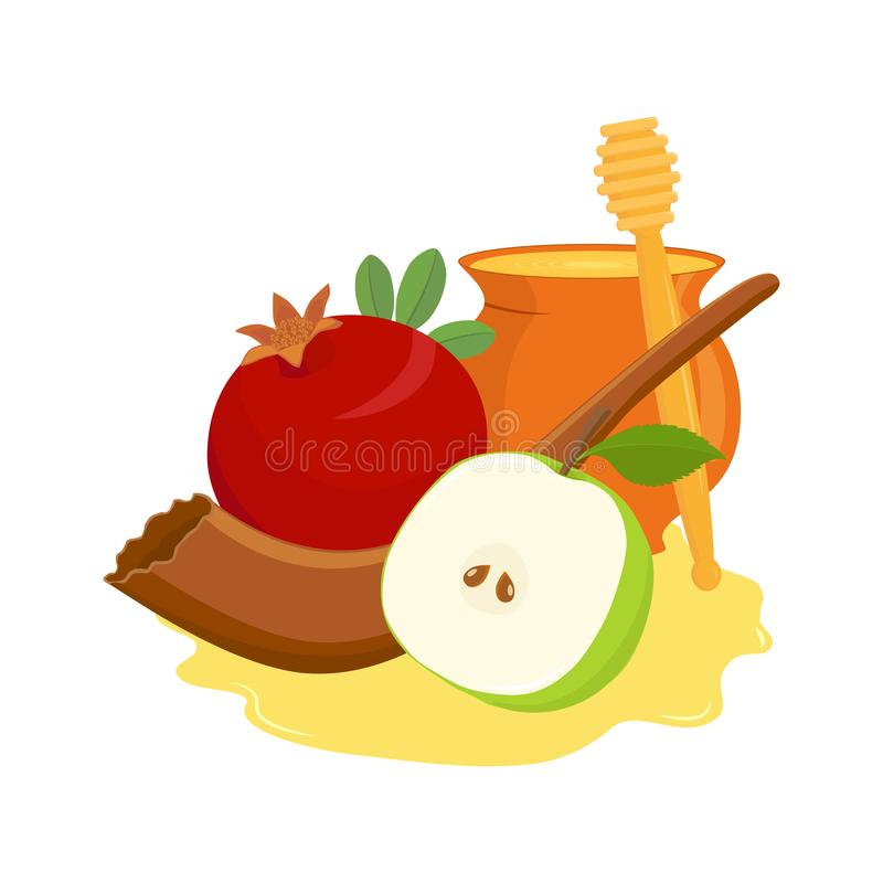 Pomegranate and apple, shofar and honey pot royalty free illustration