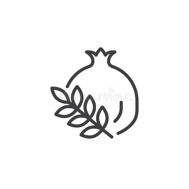 Pomegranate branch line icon. Linear style sign for mobile concept and web design. Whole pomegranate fruit outline vector icon. Symbol, logo illustration royalty free illustration