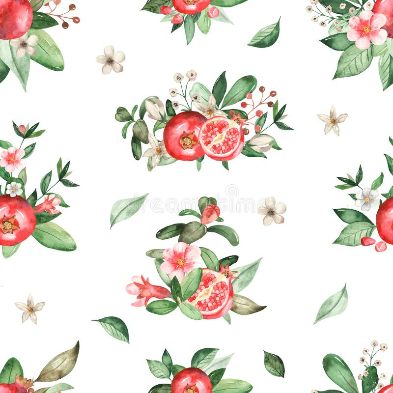 Watercolor seamless pattern with pomegranate compositions on a white background. Pomegranate compositions on a white background. Watercolor hand painted seamless stock illustration