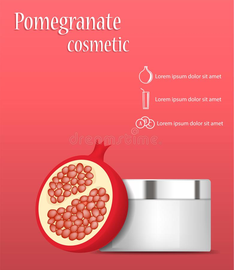 Pomegranate cosmetic concept background, realistic style. Pomegranate cosmetic concept background. Realistic illustration of pomegranate cosmetic vector concept stock illustration