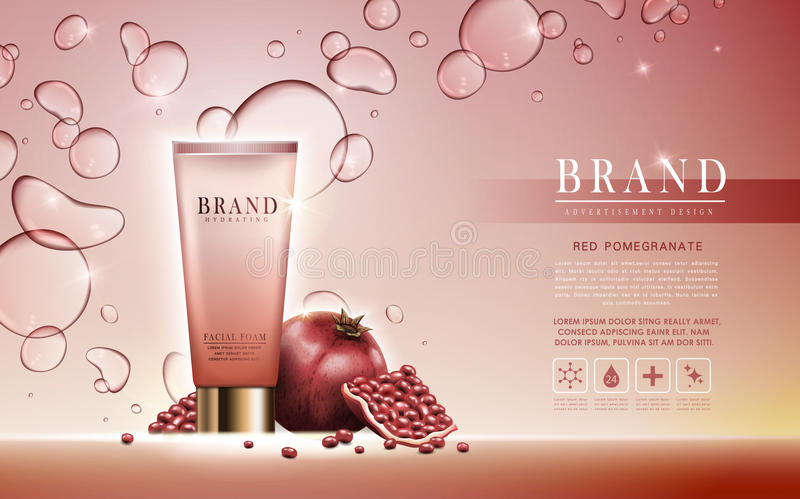 Pomegranate facial foam ad. Pomegranate facial foam contained in tube, light pink background, 3d illustration