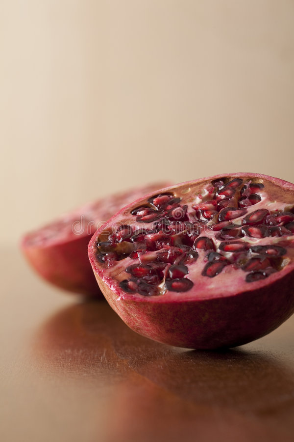 Pomegranate halves stock image