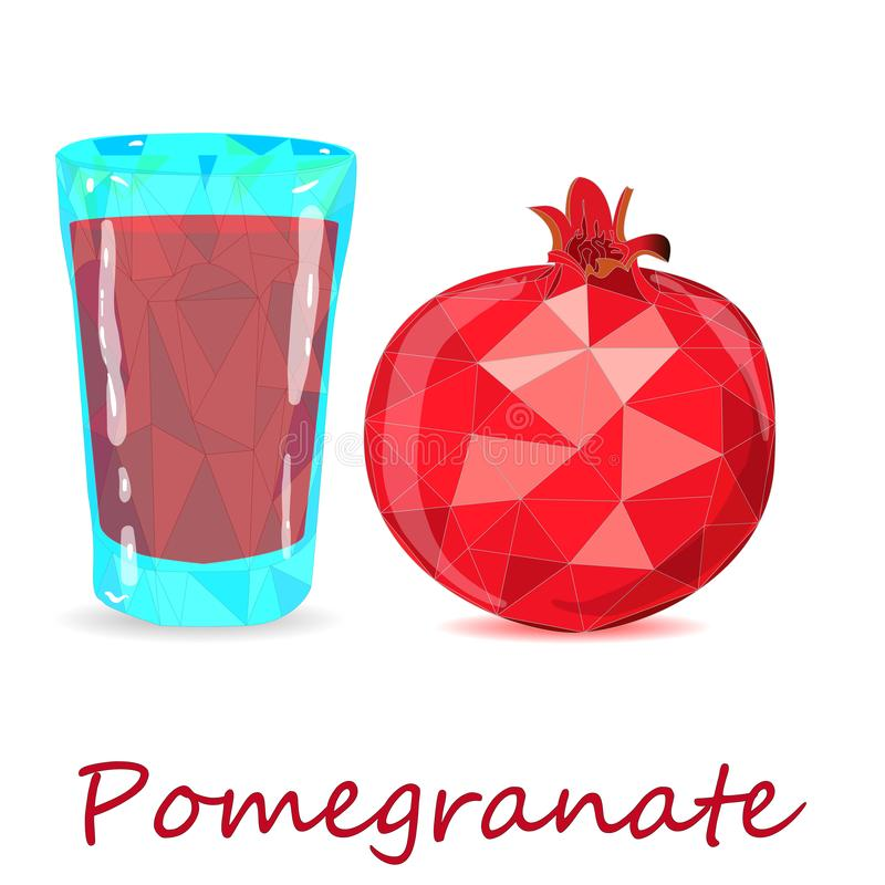 Pomegranate hand drown vector illustration isolated on white background. Low poly style stock illustration