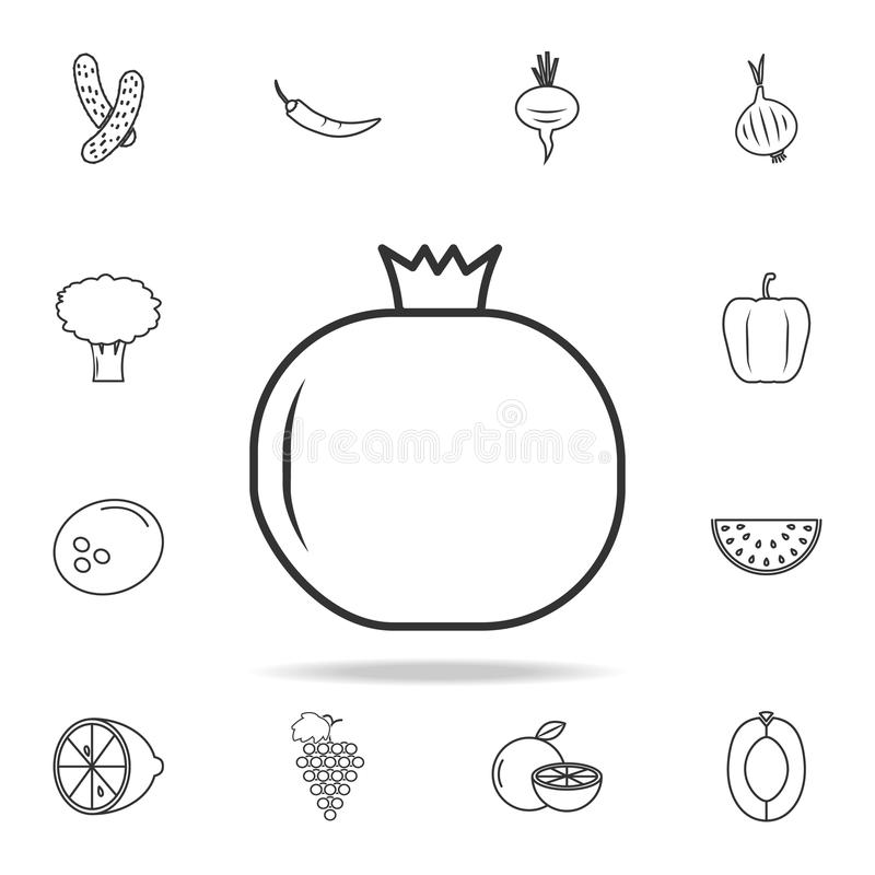 Pomegranate icon. Set of fruits and vegetables icon. Premium quality graphic design. Signs, outline symbols collection, simple thi vector illustration